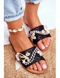 Women's Flip-flops With Shells Black Spain - SS-42 BLK