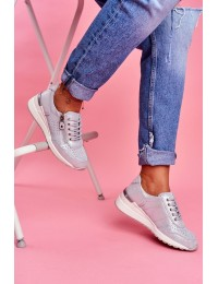 Women s Sport Shoes Sneakers Leather Silver FT20-8675 Better Way - FT20-8675 SILVER