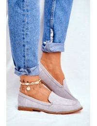 Women's Brogues Slip-on Loafers Suede Grey Twinky - T359 GREY