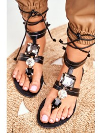 Women's Sandals Flat With Sequins Black Volare - JH126 BLK