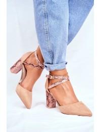 Women's Pumps On High Heel Snake Print Suede Beige Together - 7290-1 BEIGE