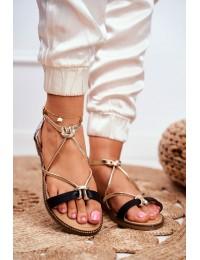 Women's Sandals Flat Black Gold Barski Samim - LJ281 BLK GOLD