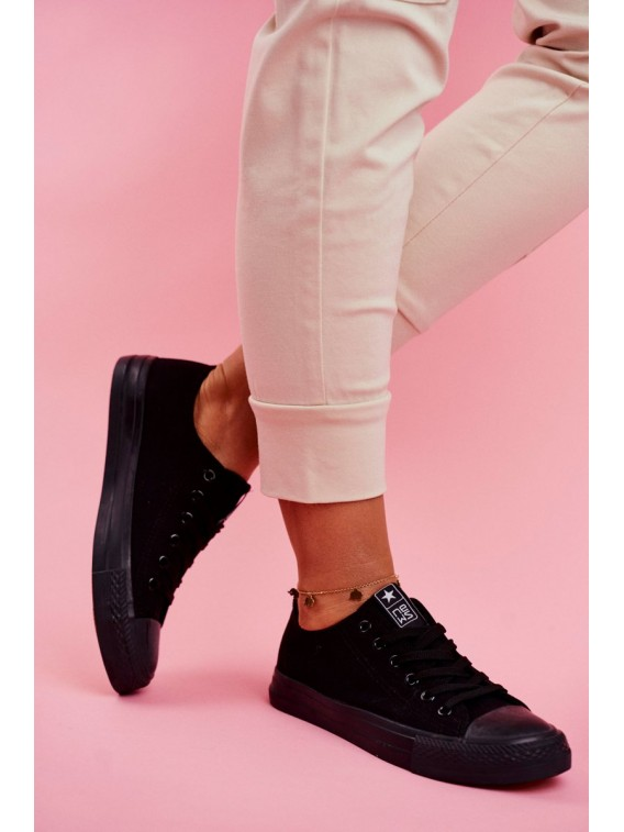 Women's Sneakers Low Material Black Ecoma - 9SP30-1141 BLK/BLK