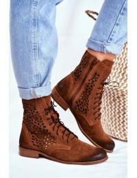 Natūralios versto odos aukštos kokybės batai ažūriniu aulu - 2565 CAMEL 027