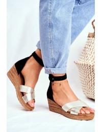 Women's Sandals Maciejka Leather Black 04565-25 - 04565-25/00-5 ZŁOTY CZARNY