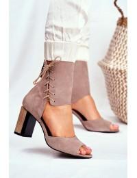 Women s Sandals On High Heel Maciejka Leather Beige 04122-04 - 04122-04/00-5 BEŻ