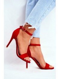 Women s Sandals On High Heel Eco-suede Red Liberty - GG-86 RED