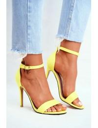 Women s Sandals On High Heel Eco-suede Yellow Liberty - GG-86 YELLOW