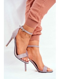 Women s Sandals On High Heel Eco-suede Grey Liberty - GG-86 GREY