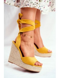 Women's Sandals On Wedge Laced Yellow Belleza - R135 YELLOW