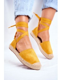 Women s Espadrilles Laced Yellow Bonjour - LL-230P YELLOW