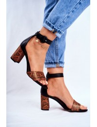 Women's Sandals Maciejka Leather Black Orange 04235-18/00-5 - 04235-18/00-5 ORANGE GAD