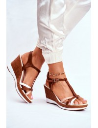 Women s Sandals On Wedge Sergio Leone Brown SK308 - SK308 WHITE MIX