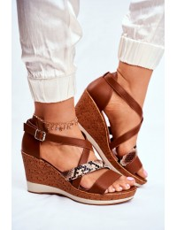 Women s Sandals On Wedge Sergio Leone Brown SK309 - SK309 BROWN MIX