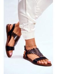 Women s Sandals Flat Sergio Leone Black SK035 - SK035 BLK