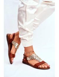 Women s Sandals Flat Sergio Leone Brown SK035 - SK035 BROWN