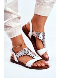 Women s Sandals Flat Sergio Leone White SK035 - SK035 WHITE