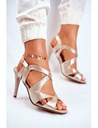Women s Sandals On High Heel Sergio Leone Gold SK427 - SK427 GOLD