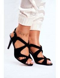 Women s Sandals On High Heel Sergio Leone Eco-Suede Black SK427 - SK427 BLK MIC