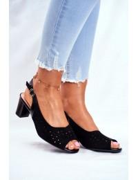 Women s Sandals On Heel Sergio Leone Black SK832 - SK823 BLK MIC