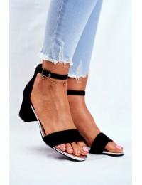 Women's Sandals Eco-Suede Sergio Leone Black SK839  - SK839 BLK MIC/SILVER