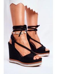 Women's Sandals On Wedge Laced Black Sydney - GP07 BLK