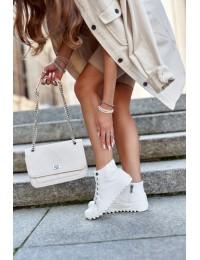 Šilti balti stilingi laisvalaikio stiliaus batai su šiltu kailiuku - GG274108 WHITE