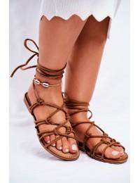 Women's Sandals Laced Camel Negros - CK152 CAMEL