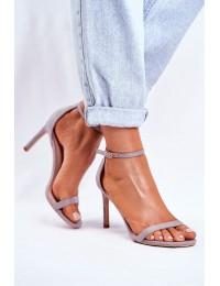 Women's Sandals On High Heel Classic Grey Basilian - NF31 GREY