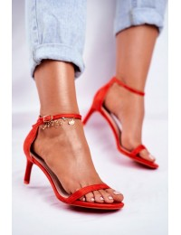 Women's Sandals On High Heel Classic Red Mintore - NF34 RED