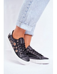 Women's Sneakers With Holes and Zircons Black Roxas - BL123P BLK