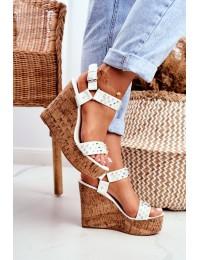 Women s Sandals On Wedge Lu Boo White Gail - 20173-19 WHITE