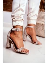 Lu Boo Beige Velor Sandals On A Pole Catherine - 626-2 BEIGE