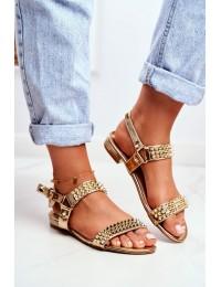 Gold Women's Flat Sandals Lu Boo With Studs Aldona - 20173-21 GOLD