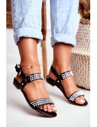 Black Women's Flat Sandals Lu Boo With Studs Aldona - 20173-21 BLK