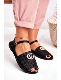 Black Women's Sandals Lu Boo Plaited Felicia - 108-B8 BLK