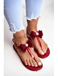 Red Women's Rubber Sandals Bow Japanese Etta  - 808D RED