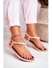 Beige Women's Rubber Sandals Pearls Japanese Denise - 668 BEIGE