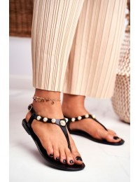Women's Rubber Sandals Pearls Black Japanese Denise - 668 BLACK