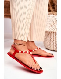 Women's Rubber Sandals Pearls Red Japanese Denise - 668 RED