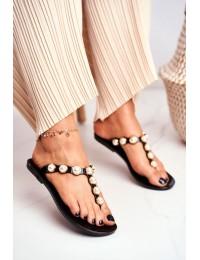 Women's Rubber Pearls Black Flip-Flops Edith - RH-209 BLACK