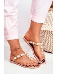 Women's Rubber Pearls Beige Flip-Flops Edith - RH-209 BEIGE