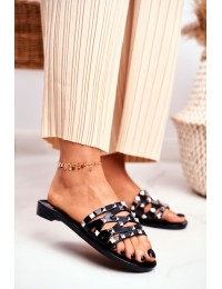 Women's Slides Black Rubber Studs Patty  - XD-886 BLK
