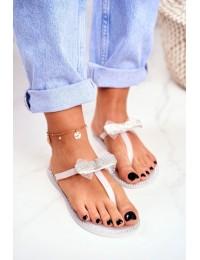 Women's Rubber Zircons White Flip-Flops Lou - XAX-5 WHITE