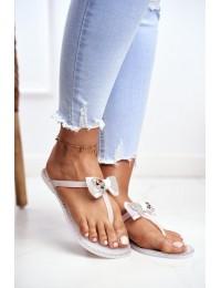 Women's Rubber Zircons White Flip-Flops Lissy - XAX-6 WHITE/KOLOR