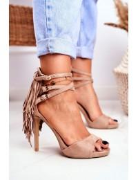 Women's Sandals On High Heel Beige Gladiators Carnival - D-29 BEIGE