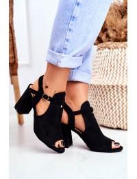 Women s Sandals On Post Openwork Black Kira - 100-993SA-2 BLACK