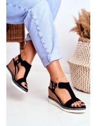 Women's Sandals On Wedge Black Rosa - F3079 BLACK