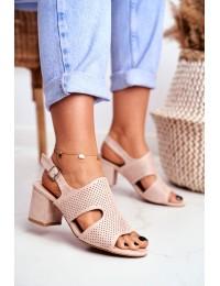 Women s Sandals On Post Openwork Beige Valery - 1-122 BEIGE