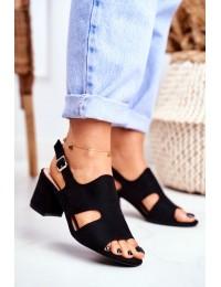 Women s Sandals On Post Openwork Black Valery - 1-122 BLACK
